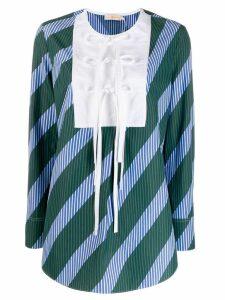 Tory Burch overprinted tie-front top - Blue
