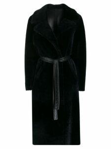 Blancha oversized belted fur coat - Blue