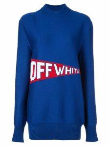Off-White varsity style logo jumper - Blue