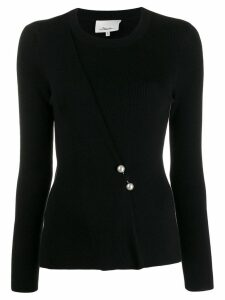 3.1 Phillip Lim Sweater With Pearl Embellished Bar Pin - Black