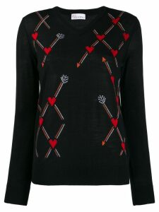 Red Valentino jacquard heart knit sweater - Black