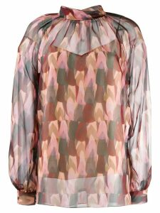 Mulberry patterned sheer blouse - Pink