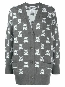 Moschino Teddy Bear pattern cardigan - Grey