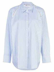 Alexander Wang zip detail striped shirt - Blue