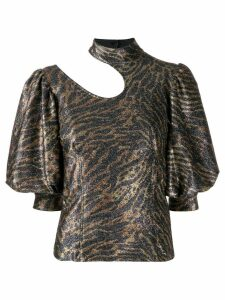 Ganni animal print cut out blouse - Gold