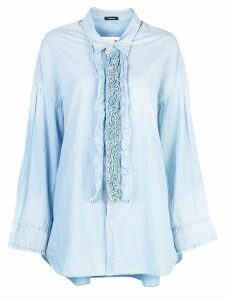 R13 frill detail oversized shirt - Blue