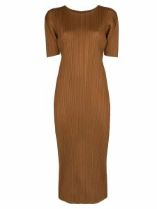 Pleats Please By Issey Miyake pleated midi dress - Brown