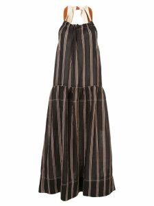 Lee Mathews striped midaxi dress - Black
