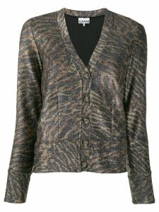 Ganni animal print cardigan - Brown