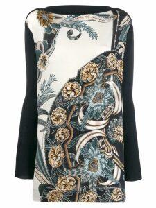 Salvatore Ferragamo printed insert long sleeve top - Blue