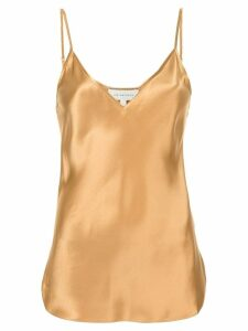 Lee Mathews Rose silk satin v-neck slip top - Gold