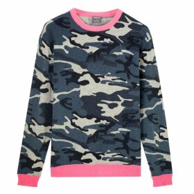 Orwell + Austen Cashmere - Camoflauge Printed Cashmere Blend Sweater With Neon Pink