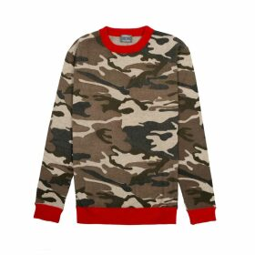 Orwell + Austen Cashmere - Camouflage Cashmere Blend Printed Sweater With Red Trim