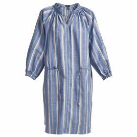 GISY - Blue Stipre Linen Mini Shirt Dress