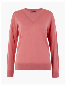 M&S Collection Pure Merino Wool Relaxed Fit V-Neck Jumper