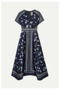 Lela Rose - Printed Satin-twill Midi Dress - Navy