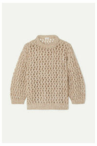 Brunello Cucinelli - Metallic Open-knit Sweater - Beige