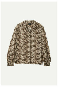 Nili Lotan - Evelyn Snake-print Silk-chiffon Blouse - Brown