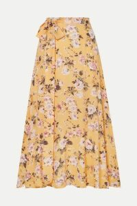Faithfull The Brand - Asiya Belted Floral-print Crepe Wrap-effect Midi Skirt - Yellow