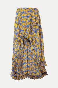 Caroline Constas - Adelle Ruffled Floral-print Silk-chiffon Maxi Skirt - Blue