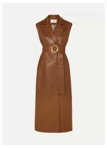MATÉRIEL - Belted Vegan Leather Dress - Brown