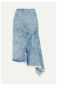 Balenciaga - Asymmetric Frayed Denim Skirt - Blue