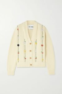 Brunello Cucinelli - Bead-embellished Ribbed Cashmere Sweater - Beige