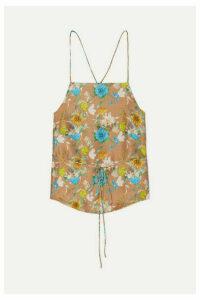 HARMUR - Tie-back Floral-print Silk-satin Camisole - Brass