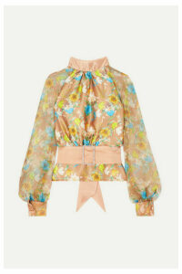 HARMUR - Open-back Floral-print Silk-satin And Crepon Blouse - Brass