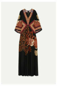 Etro - Printed Silk Crepe De Chine Maxi Dress - Black