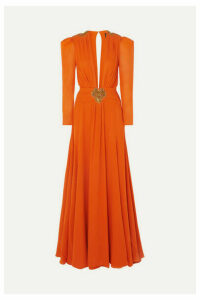 Dundas - Embellished Pleated Silk-crepe De Chine Gown - Orange