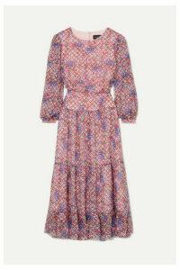 Saloni - Isabel Printed Silk-georgette Midi Dress - Lilac