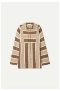 The Row - Lina Oversized Striped Cashmere And Silk-blend Hoodie - Brown