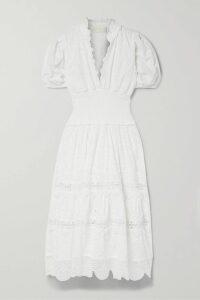 Alice + Olivia - Cantara Ruffled Broderie Anglaise Cotton Mini Dress - Black