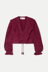 Zimmermann - Suraya Ruffled Lace-up Crinkled Ramie And Cotton-blend Top - Burgundy