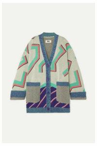 MM6 Maison Margiela - Oversized Wool-blend Jacquard Cardigan - Gray