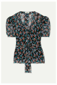 Jason Wu - Belted Floral-print Silk-georgette Blouse - Black