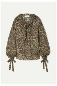 Zimmermann - Suraya Gathered Leopard-print Silk-charmeuse Blouse - Leopard print