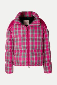 Moncler - Crystal-embellished Plaid Twill And Shell Down Jacket - Pink