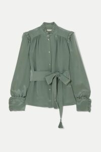 Anna Mason - Deneuve Belted Ruffled Silk Crepe De Chine Blouse - Green