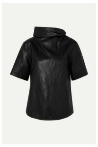 Cédric Charlier - Cropped Tie-detailed Faux Leather T-shirt - Black