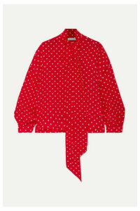 Balenciaga - Pussy-bow Polka-dot Silk Crepe De Chine Blouse - Red