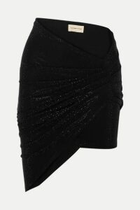 Alexandre Vauthier - Ruched Crystal-embellished Stretch-jersey Mini Skirt - Black