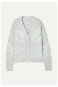 Mes Demoiselles - Botanic Embroidered Wool-blend Cardigan - Sky blue