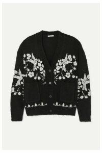 Mes Demoiselles - Botanic Wool-blend Jacquard Cardigan - Black