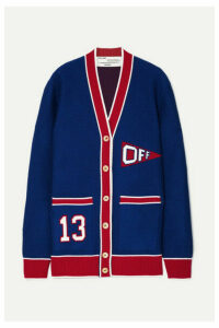 Off-White - Intarsia Wool-blend Cardigan - Blue