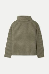 Alexander Wang - Oversized Ribbed Wool-blend Turtleneck Sweater - Army green