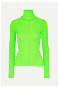 Acne Studios - Komina Neon Ribbed-knit Turtleneck Sweater - Lime green