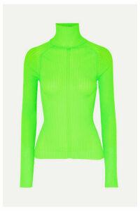 Acne Studios - Komina Neon Ribbed-knit Turtleneck Sweater - Lime green