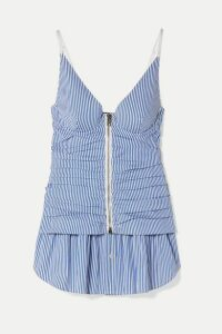 Alexander Wang - Ruched Striped Cotton-blend Peplum Camisole - Light blue